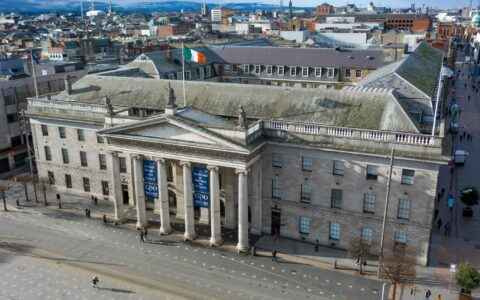 Vue aérienne de la General Post Office (GPO) de Dublin - © Irish Drone Photography